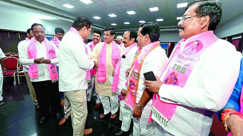 TRS working president K.T. Rama Rao at review meeting in Hyderabad on Thursday.  (DC)