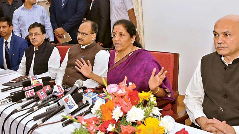 Union Finance Minister Nirmala Sitharaman addresses the media in Mysuru on Thursday.  (KPN)