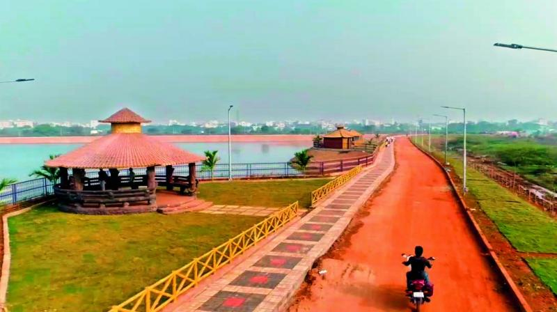 The 2,500-feet walking track in Lakaram Tank Bund is ready for walkers of Khammam. 	— DC