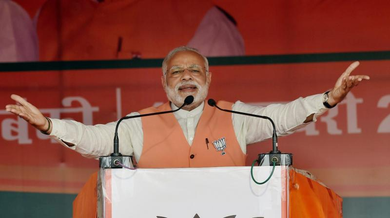Prime Minister Narendra Modi at an election campaign rally. (Photp: PTI)