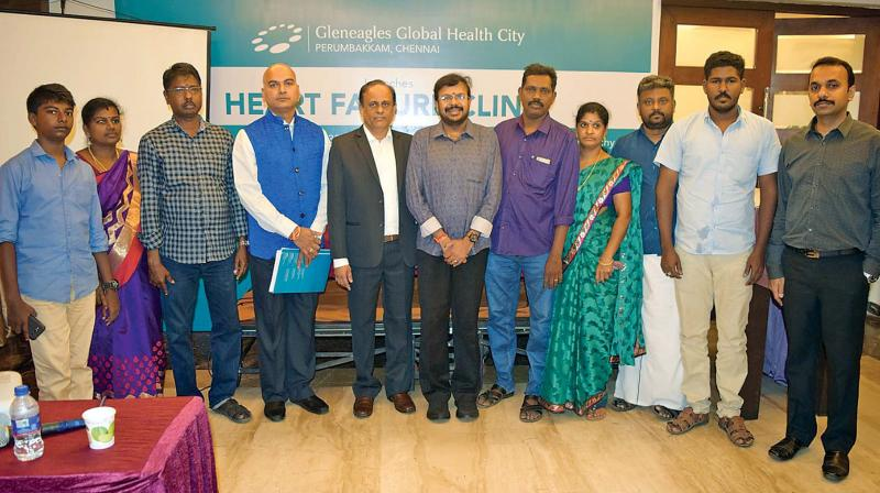 Patients from Chennai, Nagapattinam, and Pudukkottai who underwent heart transplantation at Global hospital, along with Dr Ravikumar of Global hospital, Dr Nallusamy Senthilkumar and Dr N. Arunkumar of Rana Hospital, and others at Tiruchy. (DC)