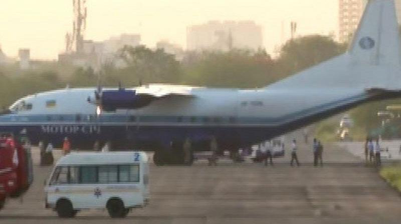 The Georgian aircraft was forced to land at Jaipur airfield. (Photo: Ani twitter)