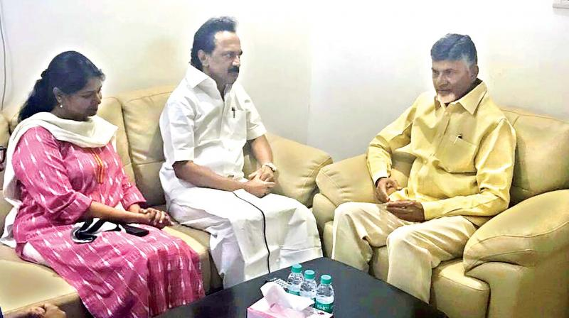 Andhra Pradesh Chief Minister N. Chandrababu Naidu talks with M.K Stalin at Cauvery hospital where the latter's father M. Karunanidhi has been admitted since July 28. (Photo:DC)