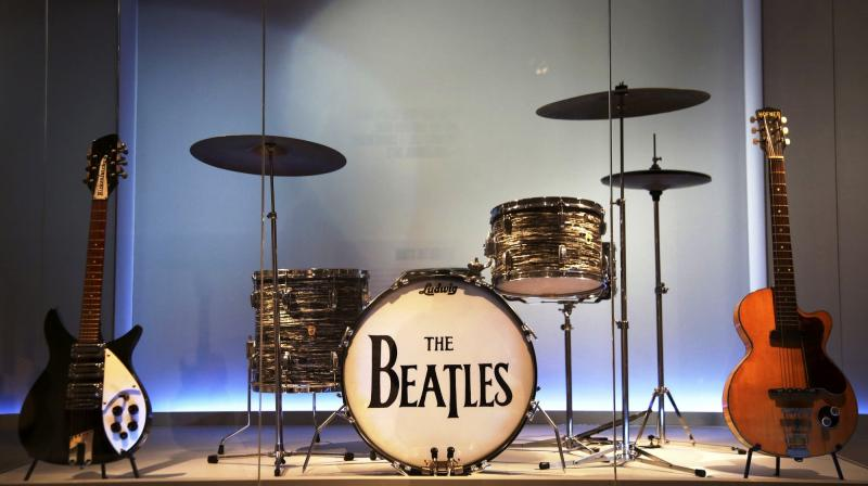 Instruments used by members of The Beatles at display at the exhibit