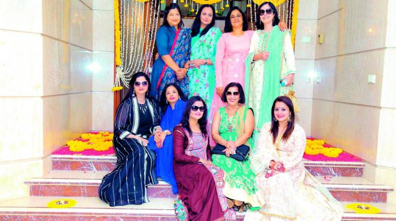 Ladies all decked up and ready for Chaya Jain's Diwali bash.