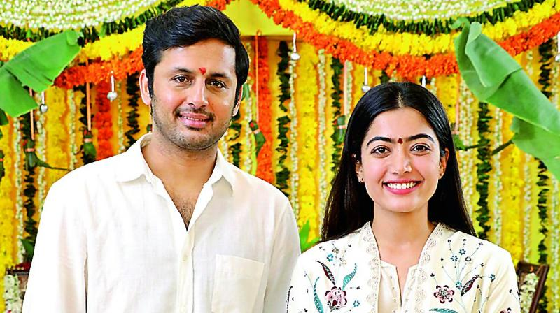 Nithiin and Rashmika at the film's launch