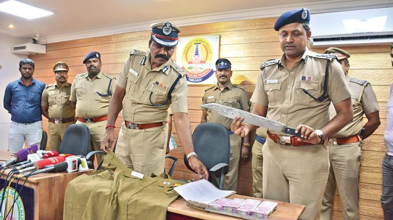 Additional Commissioner (North) H.M. Jayaram during a press conference  explaining the abduction and rescue of businessman Ganesan, on Wednesday.(Photo:DC)