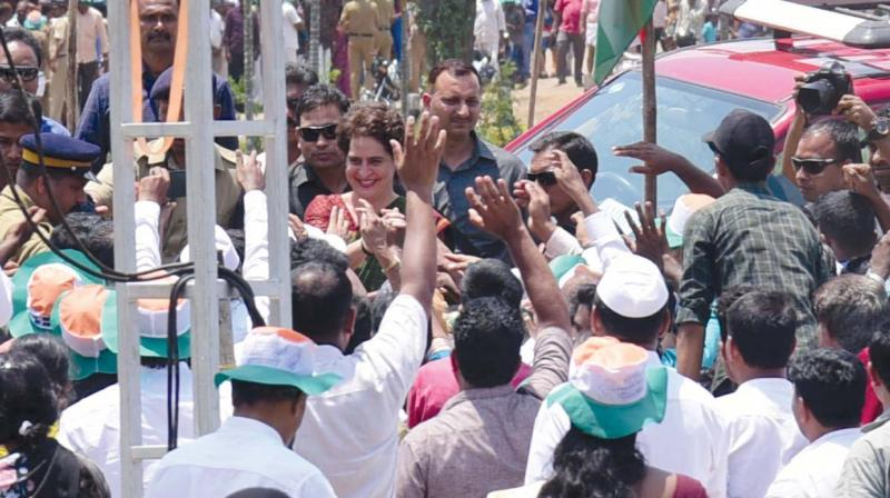 Priyanka Gandhi Vadra at a farmers' meet at Pulppalli in Wayanad on Saturday (Photo: DC)
