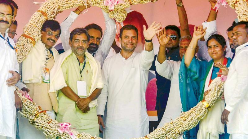 AICC president Rahul Gandhi at a rally at Bilaspur in Chhattisgarh (Photo: PTI)