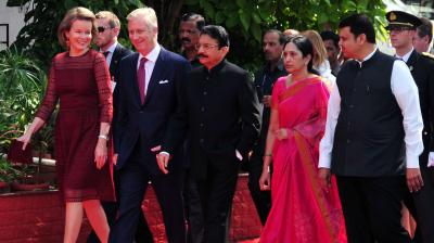 Belgium's King Philippe, center, Queen Mathilde and Maharashtra Governor C Vidyasagar Rao, his wife Vinoda, Chief Minister Devendra Fadnavis walk together during the royal couple's visit to the Raj Bhawan in Mumbai, India, Thursday. (Photo: Debasish Dey/DC)