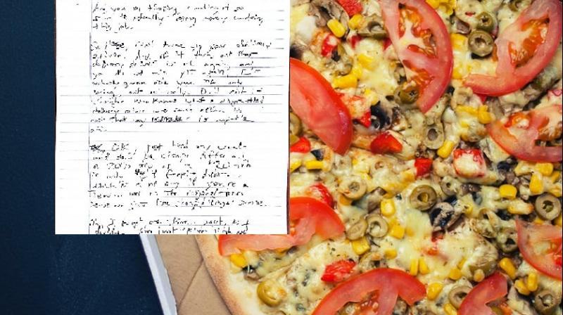 Woman receives threatning note from pizza delivery guy. (Photo: Pexels, Facebook / Lauren Olivia Ledford)