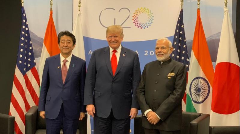 'JAI (Japan, America, India) trilateral marks the coming together of three friendly nations. Today's historic JAI meeting was a great beginning,' PM Modi tweeted. (Photo: Twitter | @narendramodi)