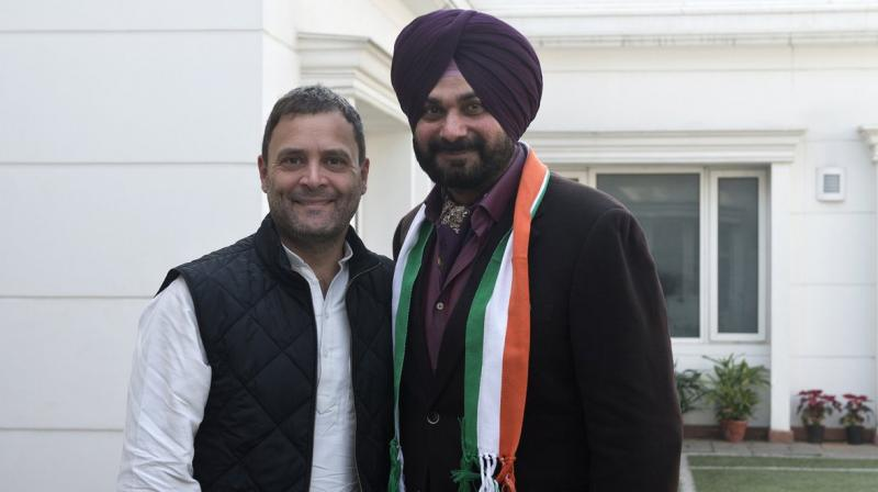 Punjab cabinet minister Navjot Singh Sidhu said he was 'patted on the back' by senior Congress leaders including Shashi Tharoor, Randeep Surjewala and Harish Rawat. (Photo: Twitter | @INCIndia)