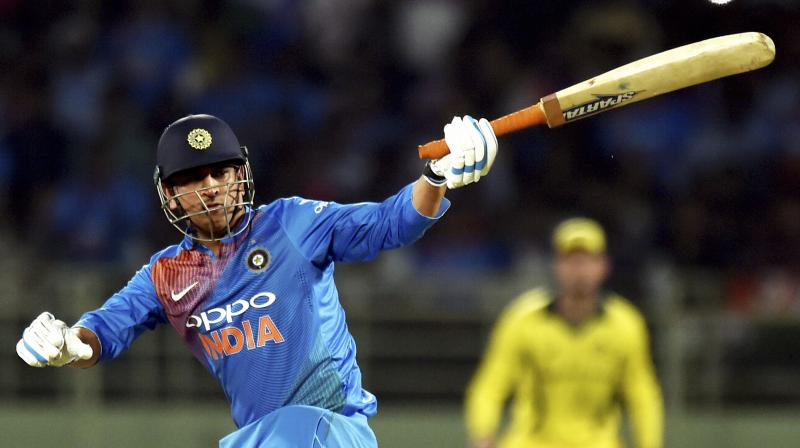 Dhoni managed 29 off 37 balls in India's below-par 126 for 7 on a track where the ball was not coming onto the bat. (Photo: PTI)