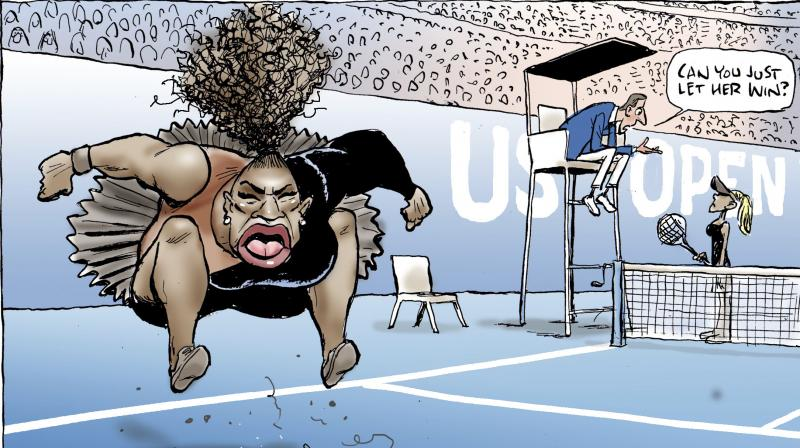 The caricature of an angry Williams - with exaggerated lips and tongue and a wild plume of curly hair rising above her head as she stomped on her tennis racket - was condemned as racist by civil rights leaders, celebrities and fans. (Photo: AP)