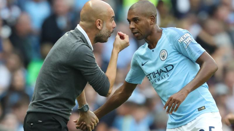 Celebrations after a highly satisfactory Sunday afternoon for Guardiola, with title rivals Liverpool only managing to pick up a point in a draw at Manchester United, were muted by the post-match news from the City dressing room. (Photo: AFP)