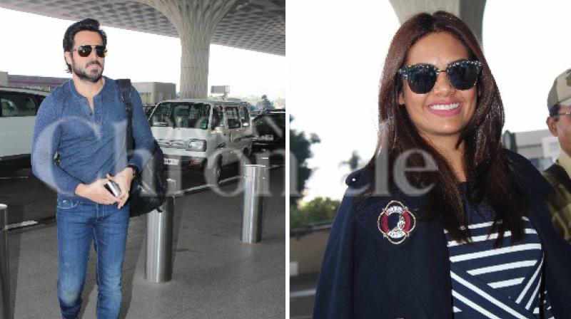Emraan Hashmi and Esha Gupta spotted at the Mumbai airport.