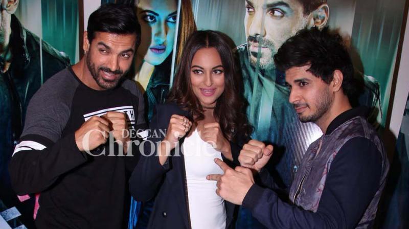 John Abraham, Sonakshi Sinha and Tahir Raj Bhasin were seeen promoting their film 'Force 2' in Mumbai on Wednesday. (Photo: Viral Bhayani)