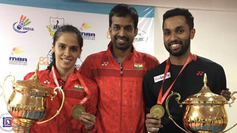 """I would like to thank Gopi sir (Pullela Gopichand) and the team for working on my movement and helping me improve my game. They have played quite an important role in this win,"" said Saina Nehwal following her National Badminton Championships triumph. (Photo: Twitter / Saina Nehwal)"