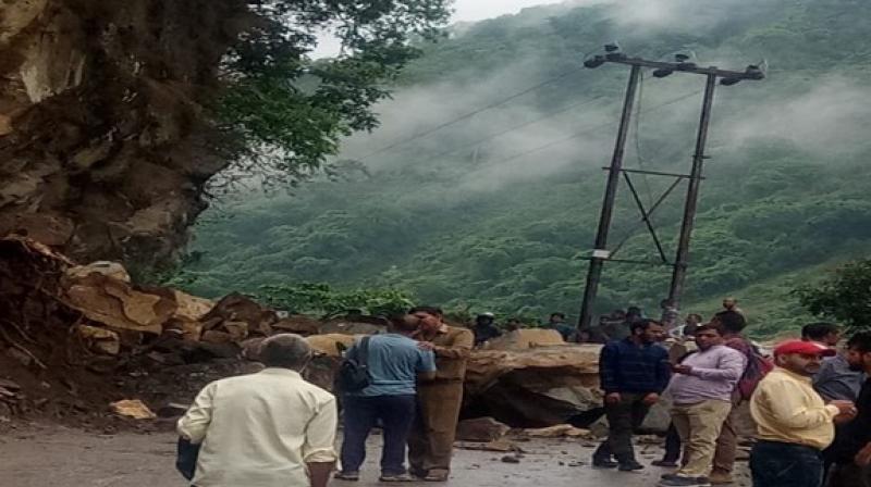NH-3 blocked due to landslide near Mandi. (Photo: ANI)
