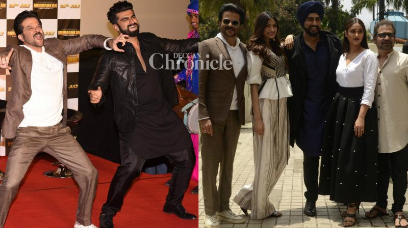 The team of the upcoming comedy 'Mubarakan' launched its trailer in Mumbai on Tuesday. (Photo: Viral Bhayani)