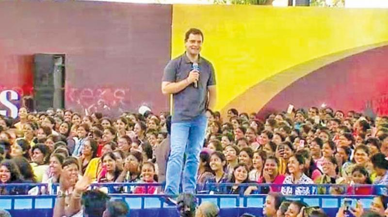 President of the Indian National Congress Rahul Gandhi interacted with students at Stella Maris Women's college on Wednesday. (Photo: DC)