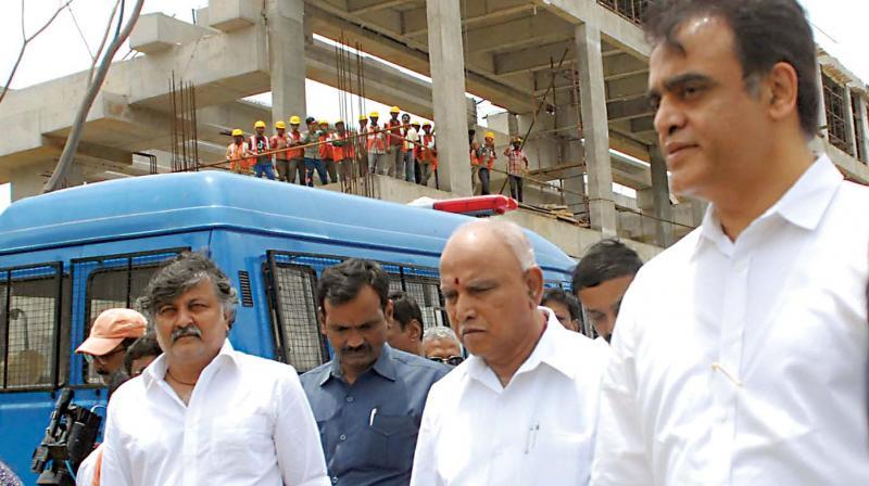 CM B.S. Yediyurappa inspects projects at K.R. Puram in Bengaluru.  (Photo: KPN)