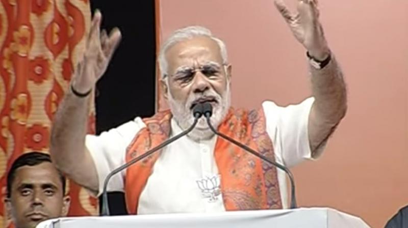 Prime Minister Narendra Modi also questioned Congress leaders, including its vice president Rahul Gandhi, for raising doubts over the surgical strikes. (Photo: Twitter | @BJP4India)