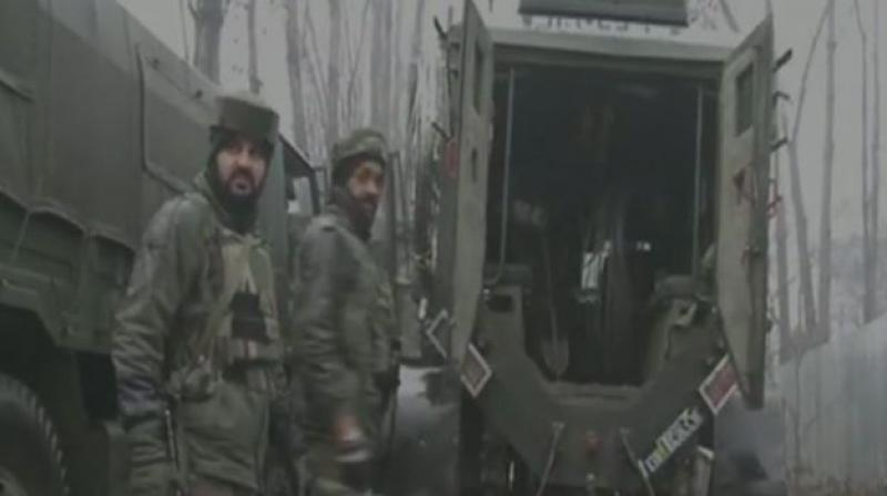 Security forces launched a cordon and search operation in the early hours in Unisoo village of Handwara following specific intelligence inputs about the presence of militants in the area. (Photo: ANI | Twitter)