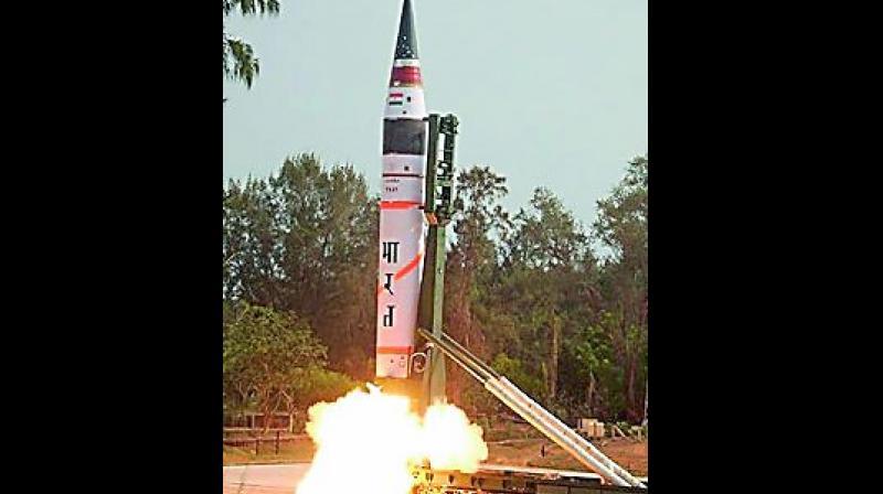 Nuclear capable ballistic missile Agni-V test-fired