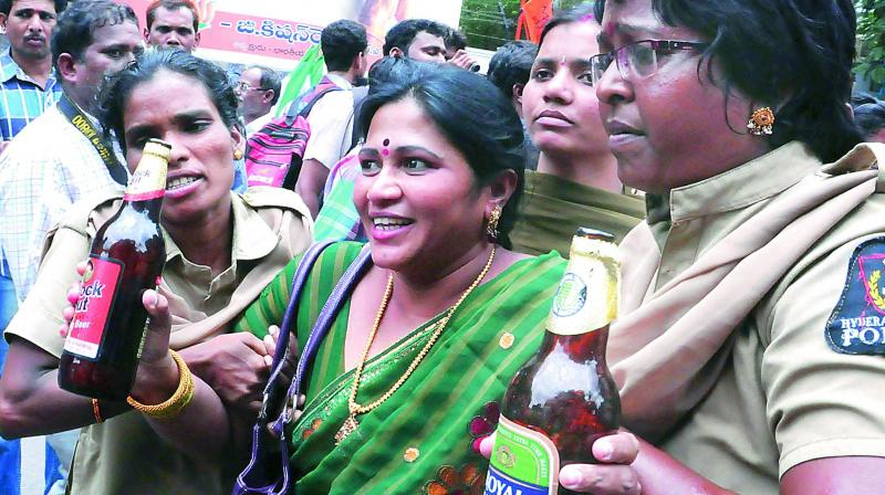 Women activists stage a protest against liquor shops in this file picture.