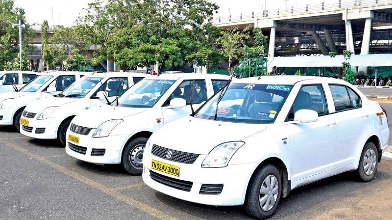 Call taxis parked at Chennai airport due to drivers' protest (Photo: DC)
