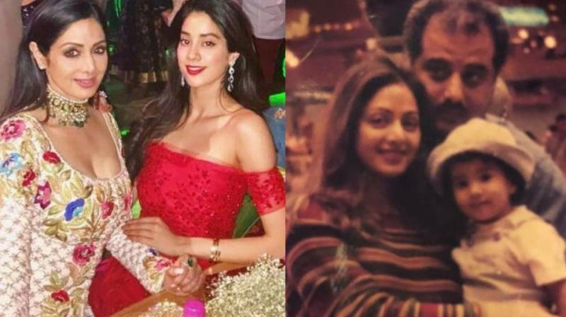 The picture that Janhvi Kapoor shared on Instagram with her parents, Boney and Sridevi.