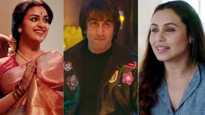 Keerthi Suresh in 'Mahanati', Ranbir Kapoor in 'Sanju' and Rani Mukerji in 'Hichki.'