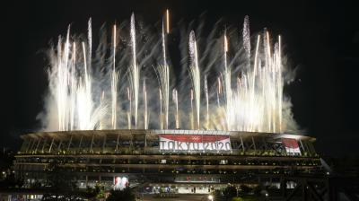 Fireworks illuminate over the National Stadium during the opening ceremony of the 2020 Summer Olympics in Tokyo on Friday. (Photo: AP)