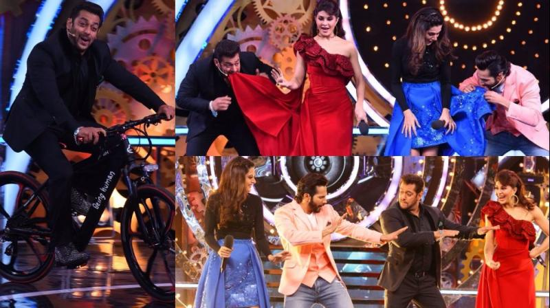 The team of 'Judwaa 2' was the star attractions at the premiere of Salman Khan's popular reality show 'Bigg Boss' in Mumbai on Sunday. (Photo: Viral Bhayani)