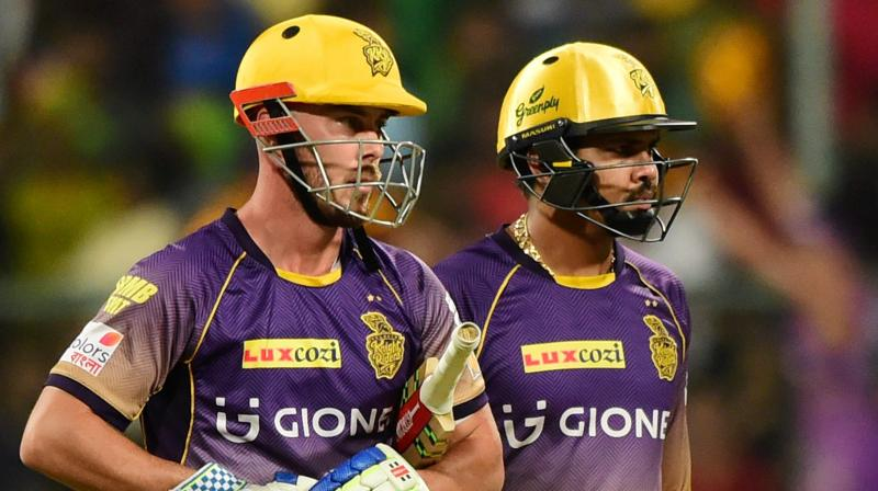 Kolkata Knight Riders' Sunil Narine and Chris Lynn during the IPL match against Royal Challengers Bangalore at Chinnaswamy Stadium in Bengaluru on Sunday. (Photo: AP)