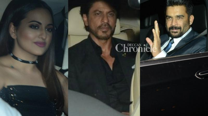 Shah Rukh Khan, Sonakshi Sinha, R Madhavan and numerous other stars were seen arriving at the nomination bash of an awards show. (Photo: Viral Bhayani)