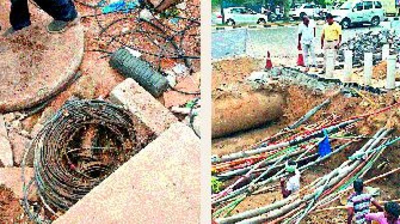 The private cables of data and internet providers which obstructed the flow of water following rains on Friday. The GHMC is planning to remove them from the drains.