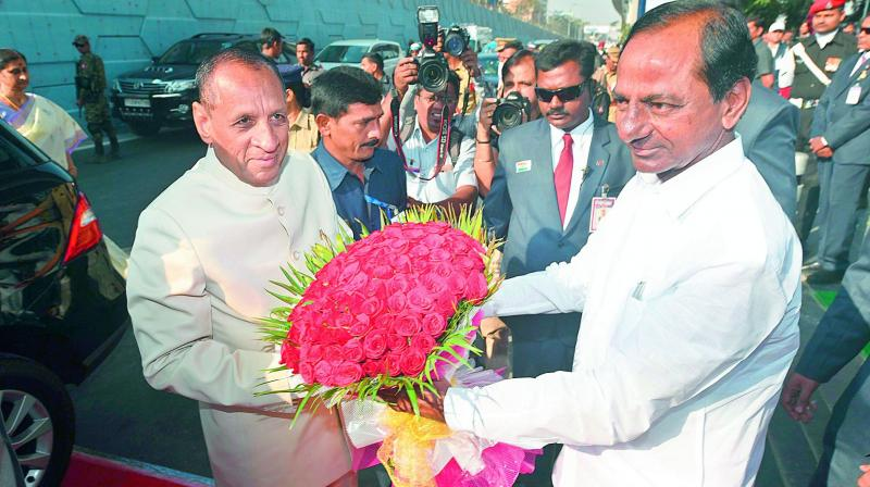 Governor E.S.L. Narasimhan is being welcomed by Chief Minister K. Chandrasekhar Rao at Parade Ground on the occasion of Republic Day on Friday.