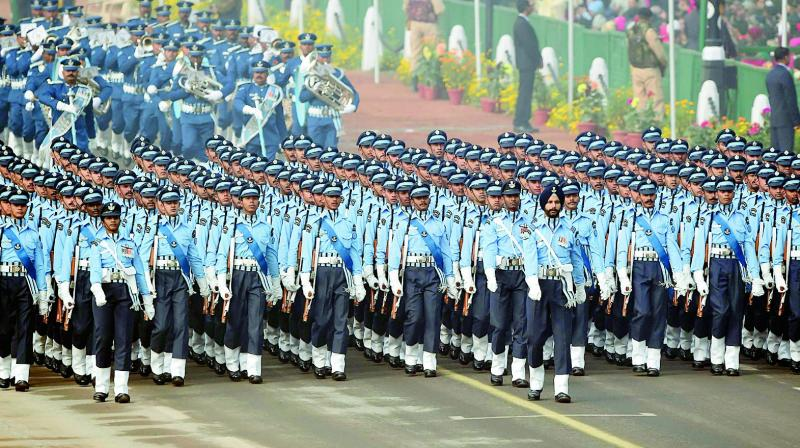An Indian Air Force contingent marches at the 69th Republic Day Parade in New Delhi on Friday. (Photo: AFP)