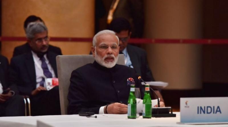 Prime Minister Narendra Modi speaks at the G-20 Summit in Hamburg, Germany (Photo: PTI)