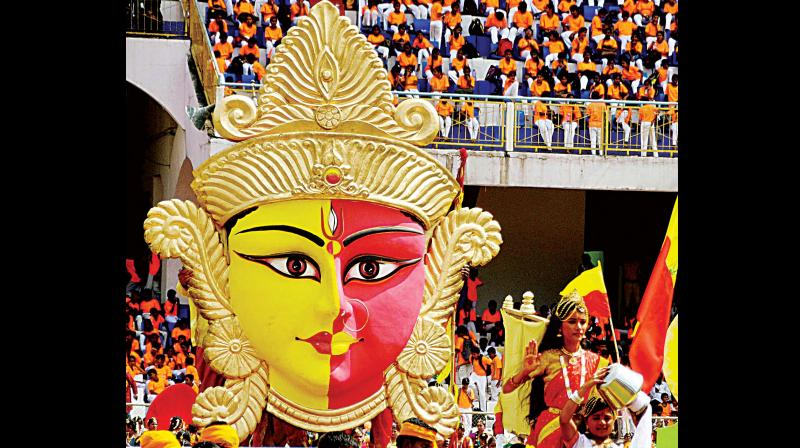 A tableau taken out in procession during Rajyotsava celebrations in Bengaluru on Tuesday (Photo: DC)