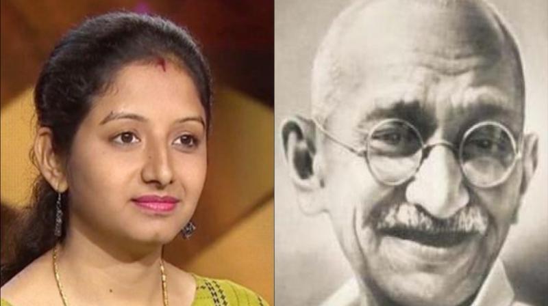 Shivani Dhingra and Mahatma Gandhi. (Photo: Twitter)