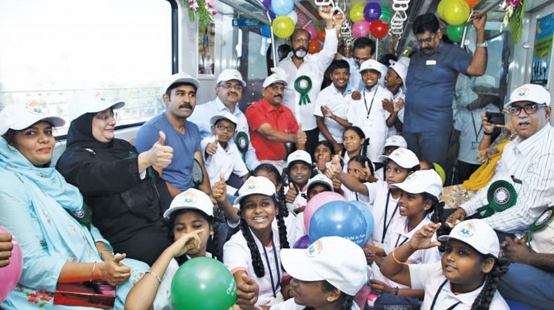 Labour minister Nilofer Kafeel takes children on the metro rail to create  awareness on child labour in Chennai on Wednesday. (Photo: DC)