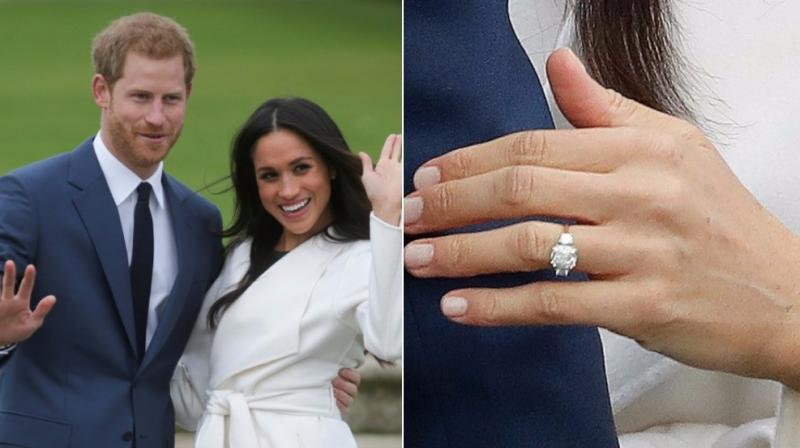 Prince Harry and Meghan Markle after their announcement and Meghan's ring featuring some of the late Princess Diana's diamonds. (Photo: AFP/AP)