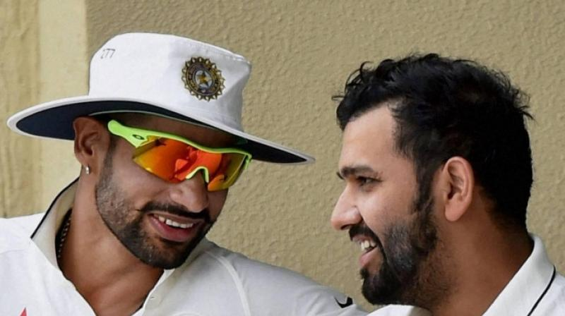 Former India captain Sourav Ganguly on Tuesday spoke against Rohit Sharma and Shikhar Dhawan, stressing mainly on the fact of their overseas record.(Photo: PTI)