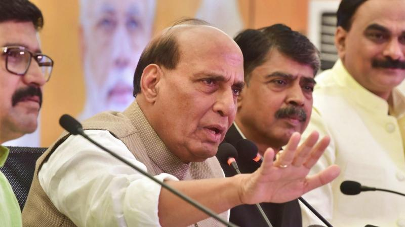 Union Home Minister Rajnath Singh addresses a press conference, in Bhopal. (Photo: PTI)