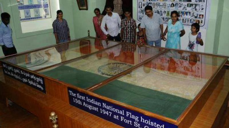 The flag, which has been in the ASI's 'reserve collection' for decades was for the first time put on public display at the Fort Museum. (Photo: Facebook)