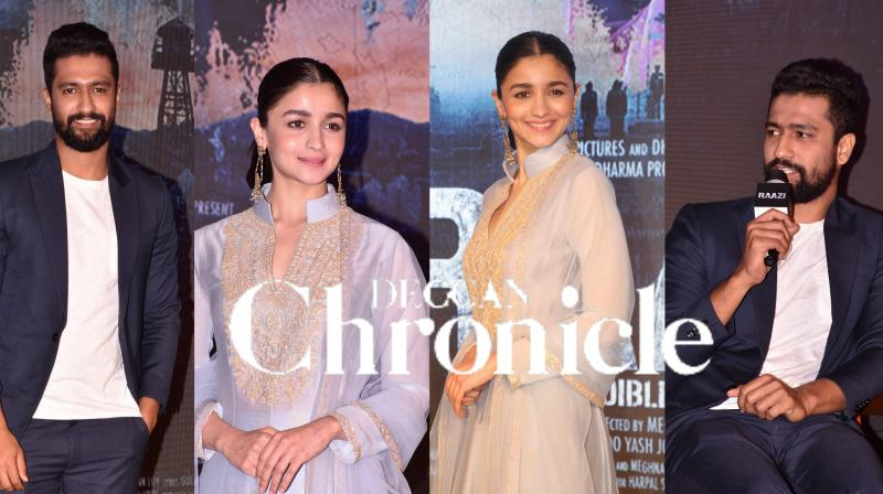 Alia Bhatt, her director Meghna Gulzar and co-star Vicky Kaushal came together to launch the first song 'Ae Watan' from their upcoming film ' Raazi'. See exclusive pictures here. (Photos: Viral BhayanI)